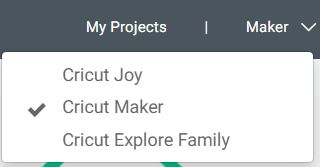 Machine drop down menu Cricut Design Space.