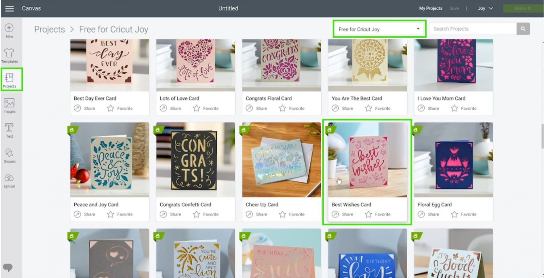 free Cricut Joy products