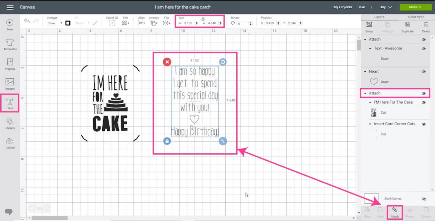 writing text in Cricut Design Space