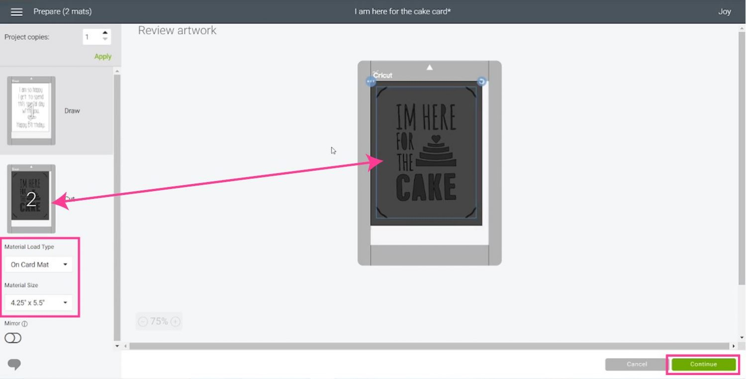 selecting size and centering images and material size in Design Space