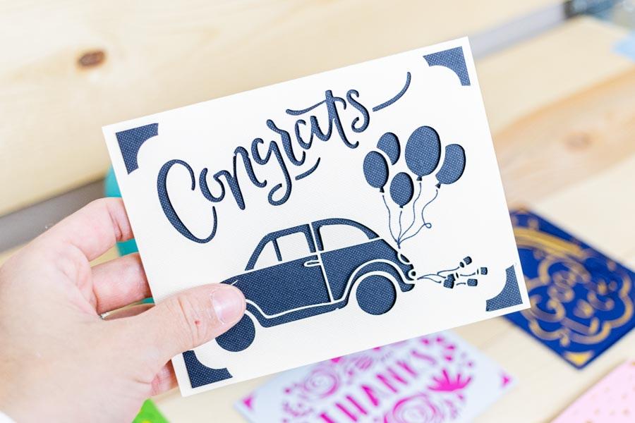 congratulations card for a wedding made with Cricut Joy
