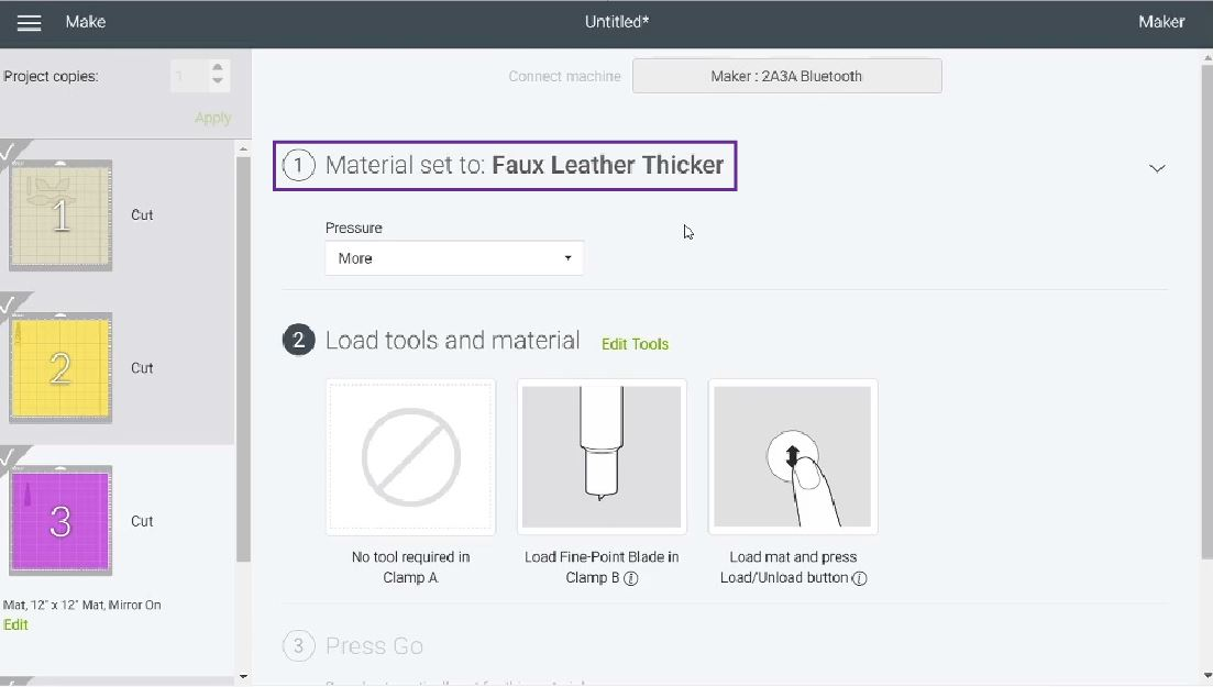 selecting faux leather in Cricut Design Space
