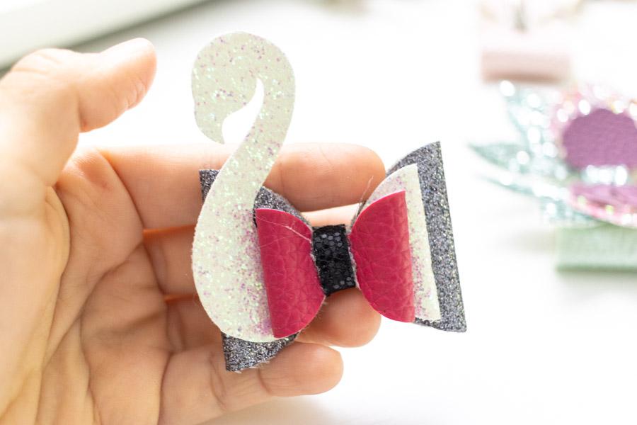 swan hair bow made with cricut