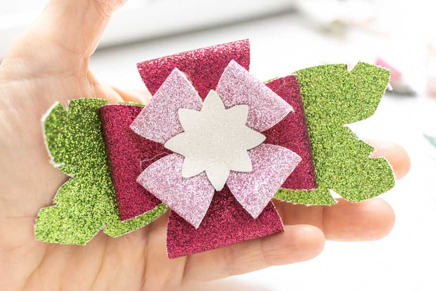flower bow made fine glitter canvas