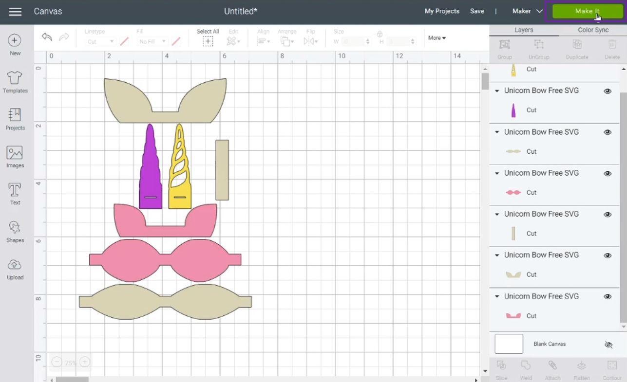 hair bow template in Cricut Design Space