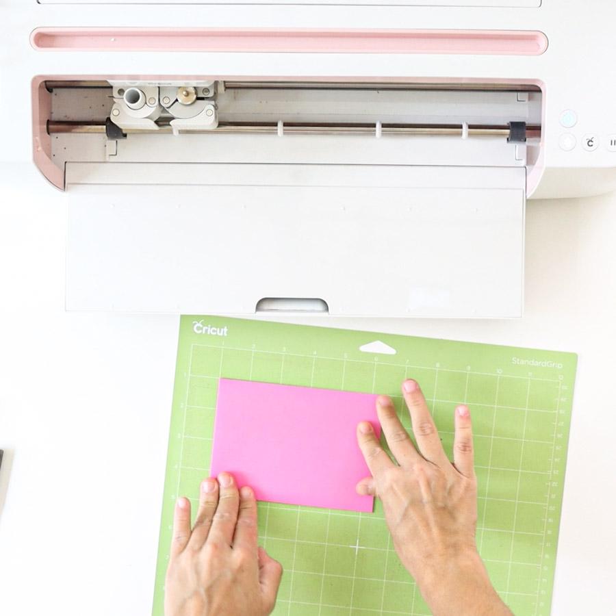 placing envelope on cricut mat