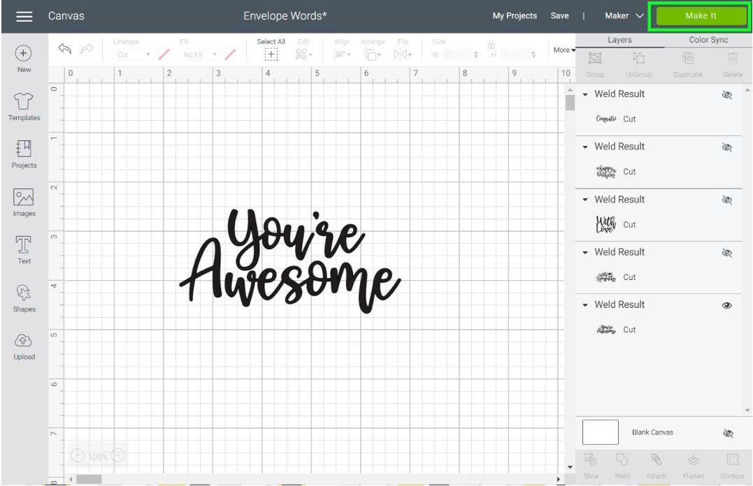 you're awesome text in Cricut Design Space
