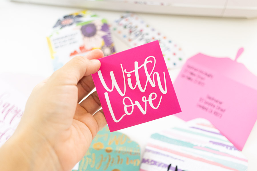 """""""with love"""" envelope made with iron-on"""