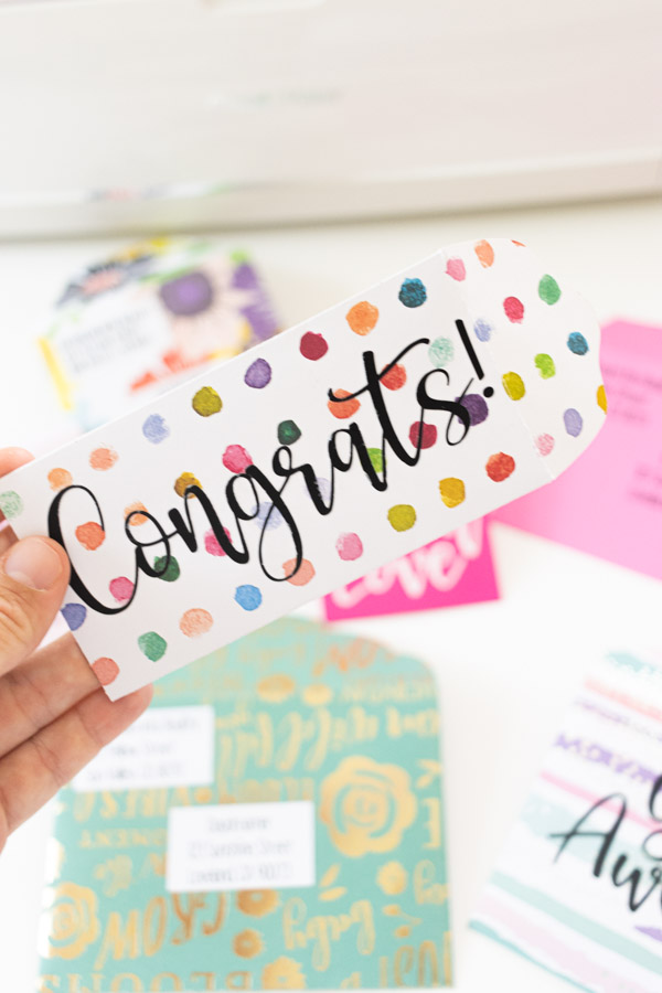 congrats envelope decorated with iron-on
