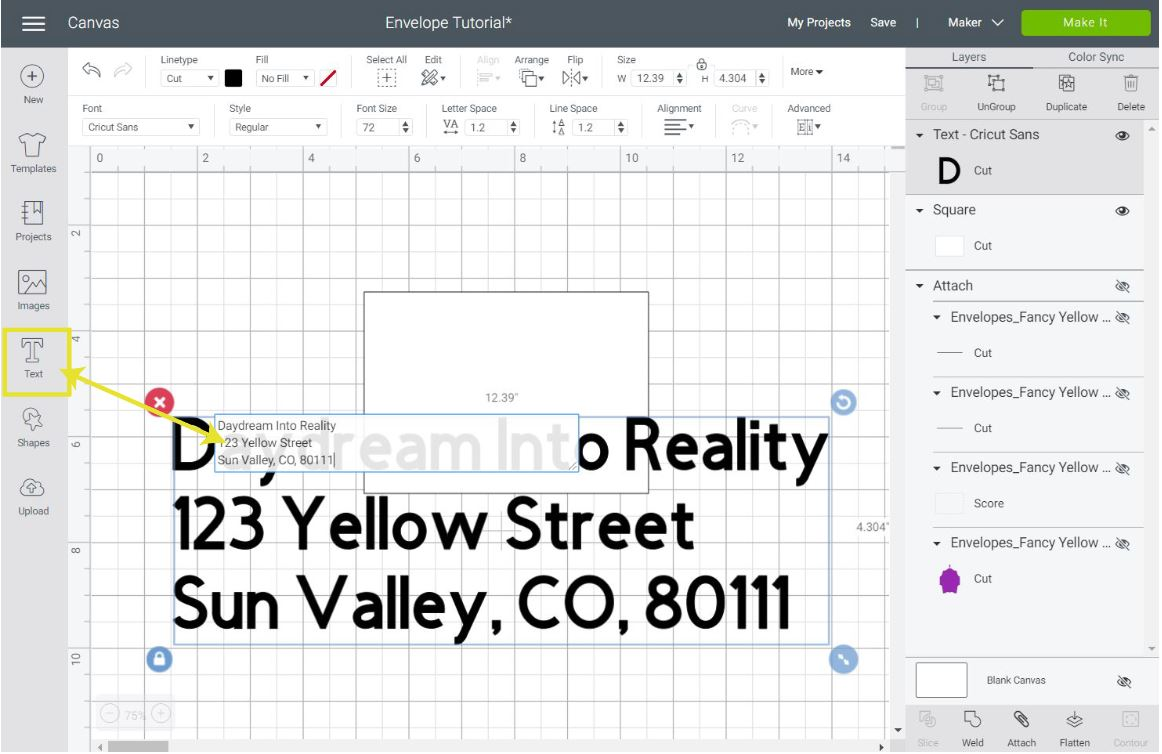 adding text for envelope in Cricut Design Space