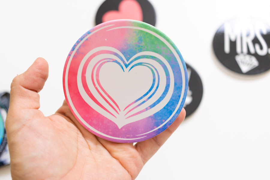 heart and colorful ceramic coaster made with infusible ink