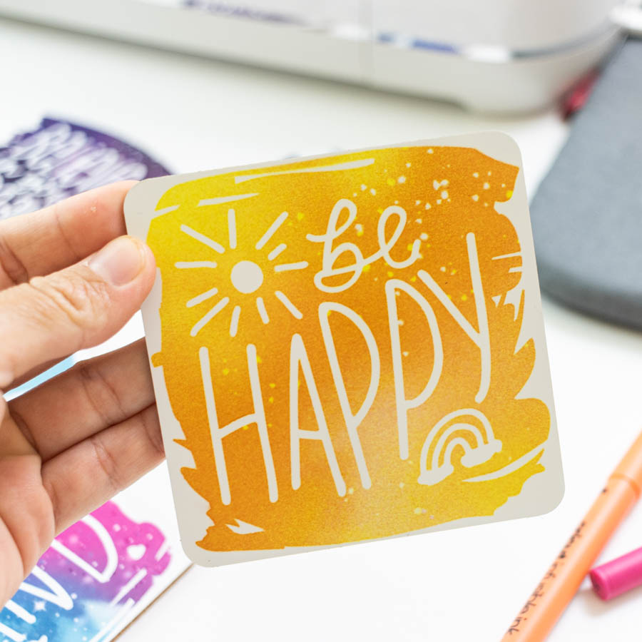 be happy coaster made with infusible ink transfer sheet
