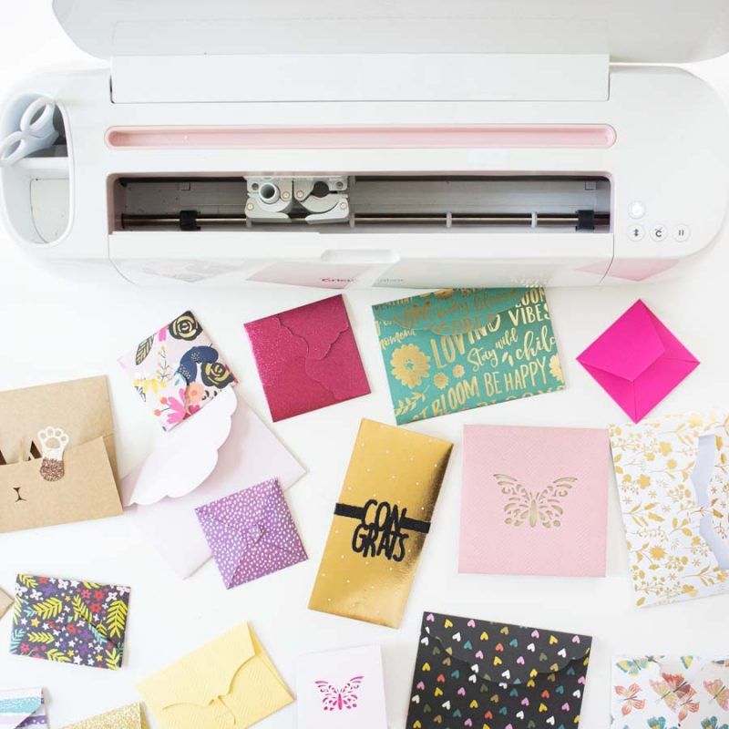 assorted envelopes made with cricut
