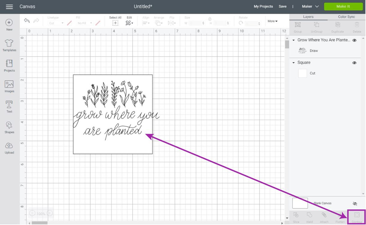 organizing drawing in cricut design space