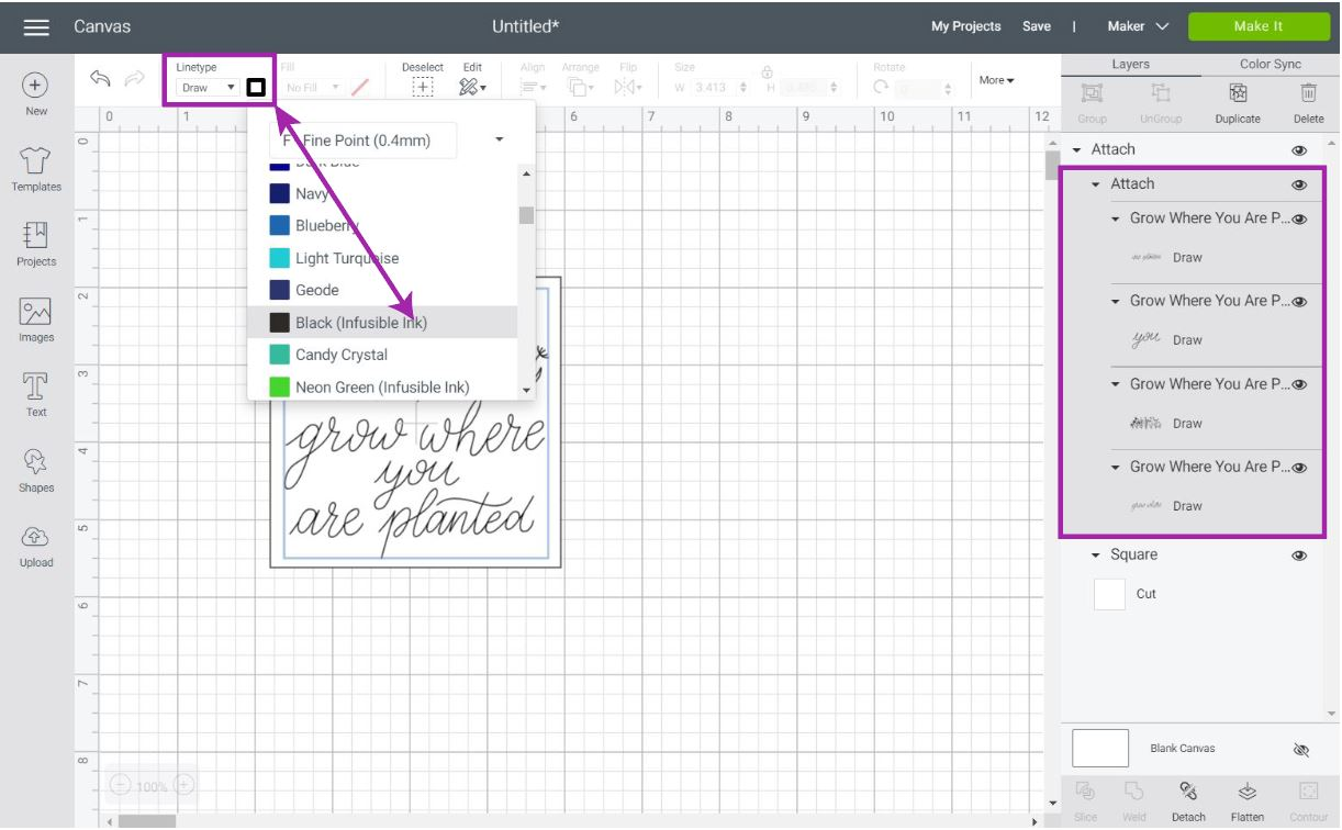 selecting cricut infusible ink pen in cricut design space