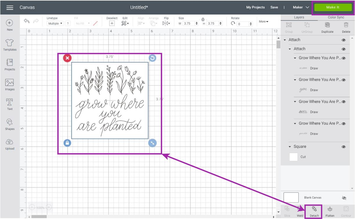 attaching in cricut design space