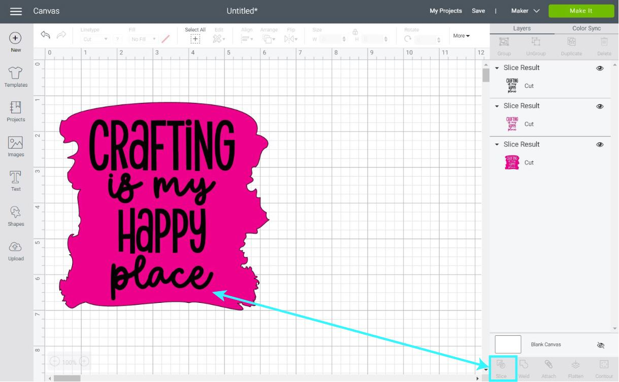 slicing in cricut design space
