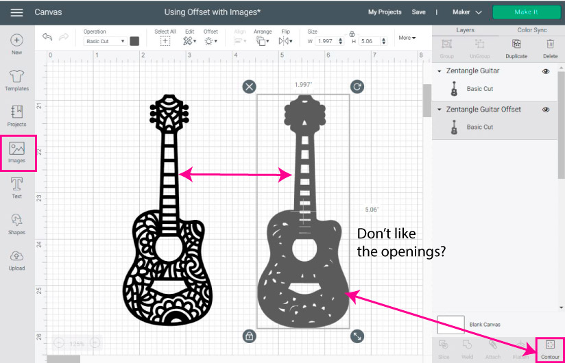 making offset path of an image in cricut design space.