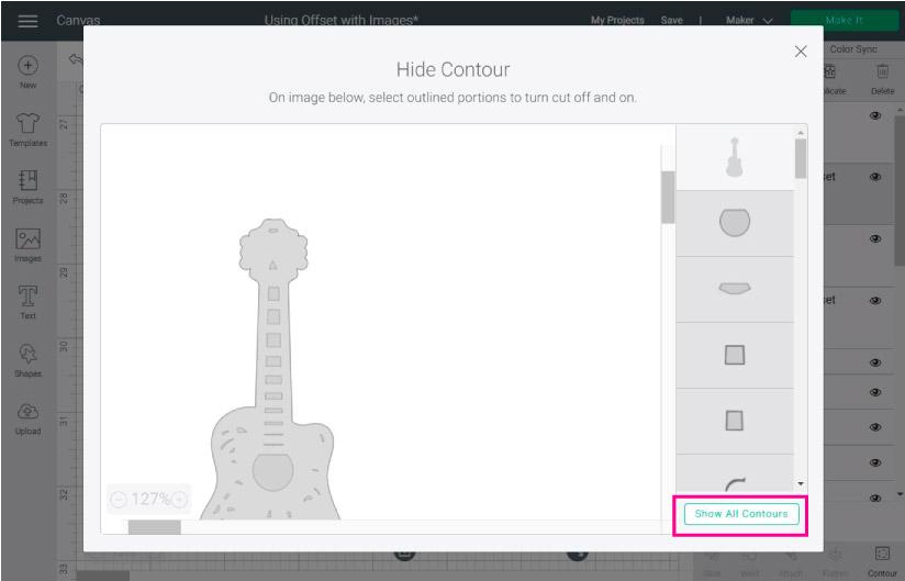 contour tool in design space