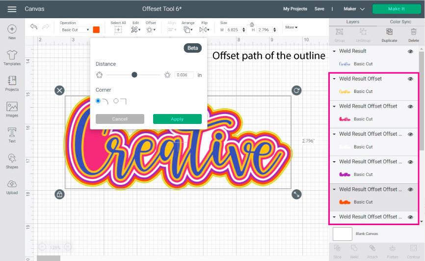 make multiple outlines in cricut design space with the offset tool.