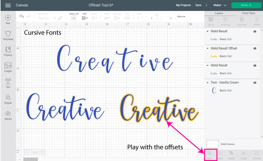using offset with cursive fonts in Cricut Design Space