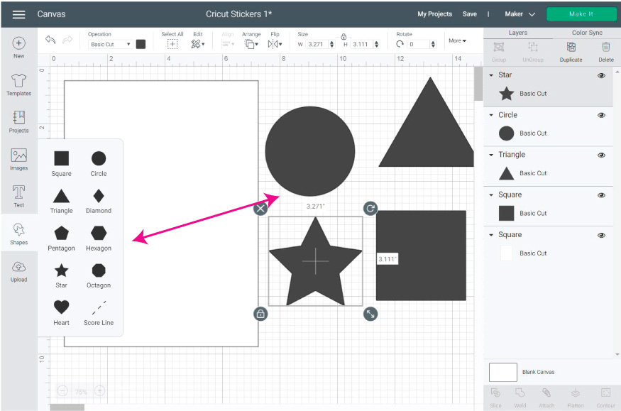 Cricut Design Space Screenshot:  Add the shapes you want to use for making the stickers.