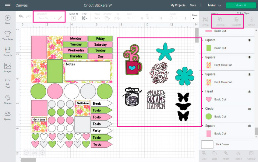 Cricut Design Space Screenshot: images selected to add to your stickers.