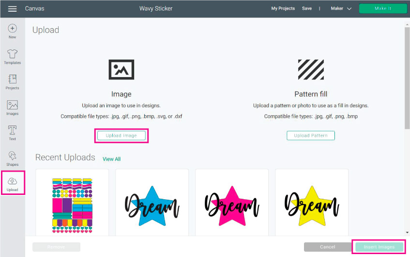 upload sticker layout to cricut design space