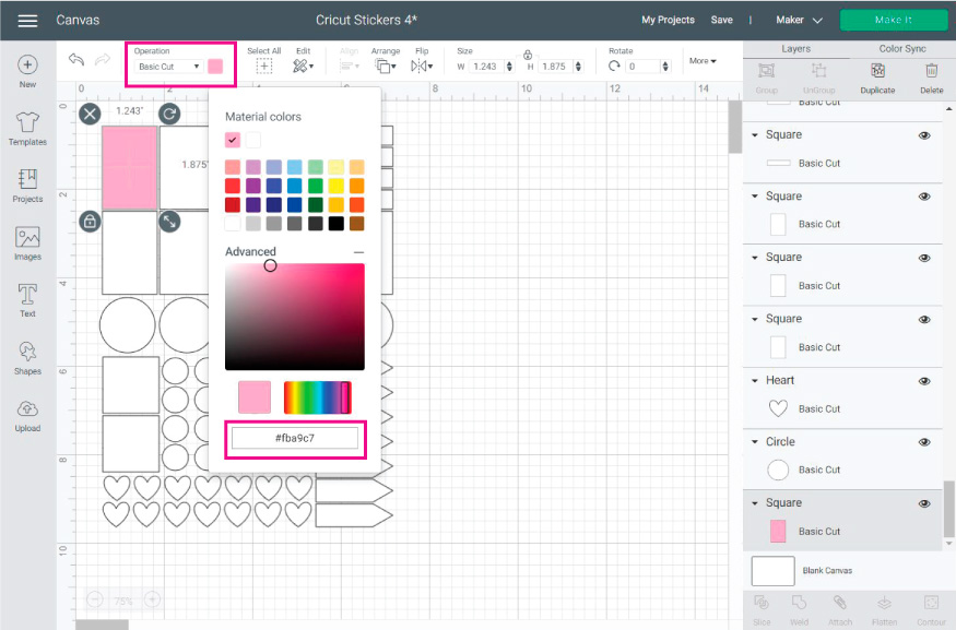 Cricut Design Space Screenshot:  add colors to your stickers
