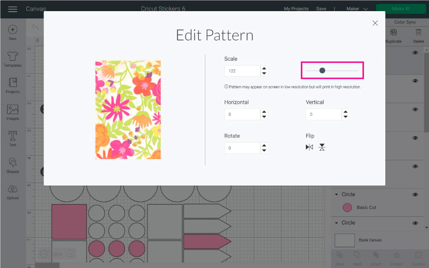 Editing patterns in Cricut Design Space
