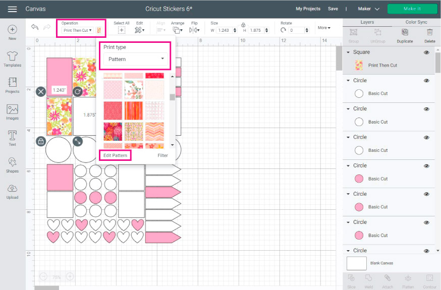 Cricut Design Space Screenshot: add patterns to your stickers