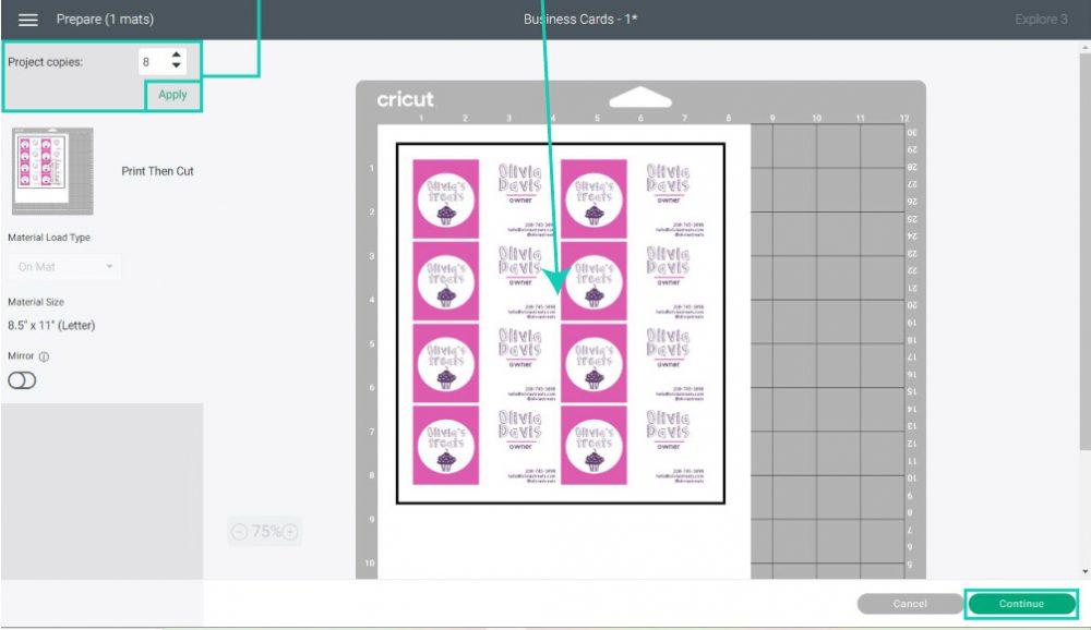 multiple business cards in cricut design space