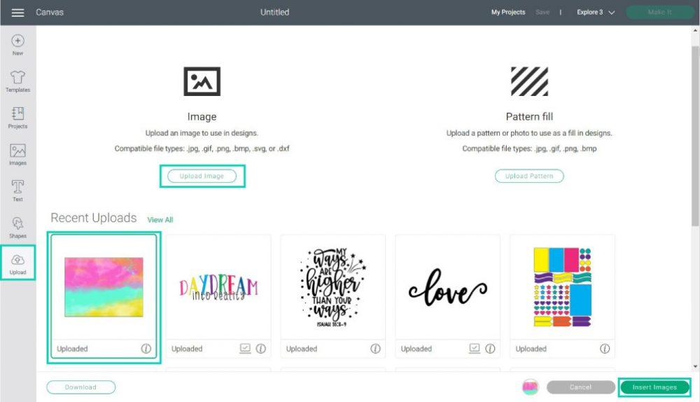 uploading images in cricut design space
