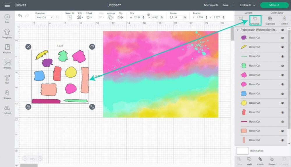 ungroup watercolor stroke in cricut design space