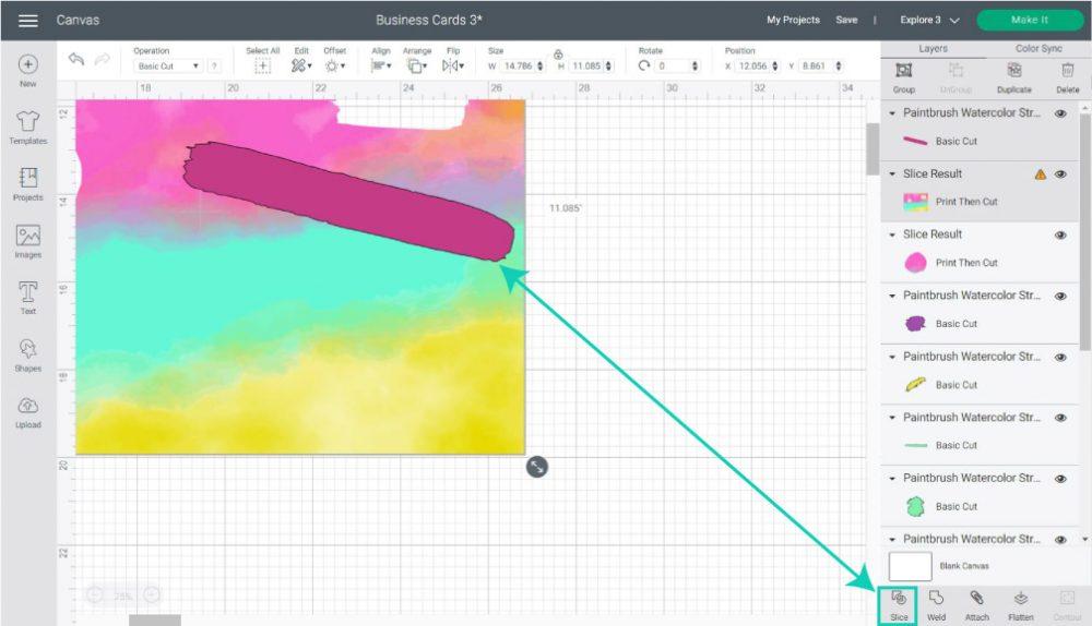 slice watercolor stroke in cricut design space