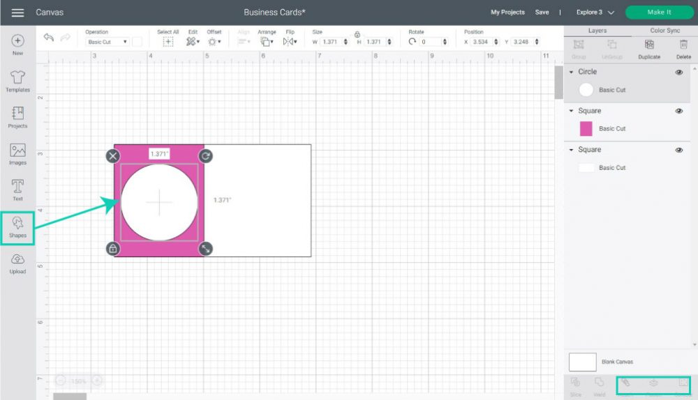 adding circle shape to business card in cricut design space