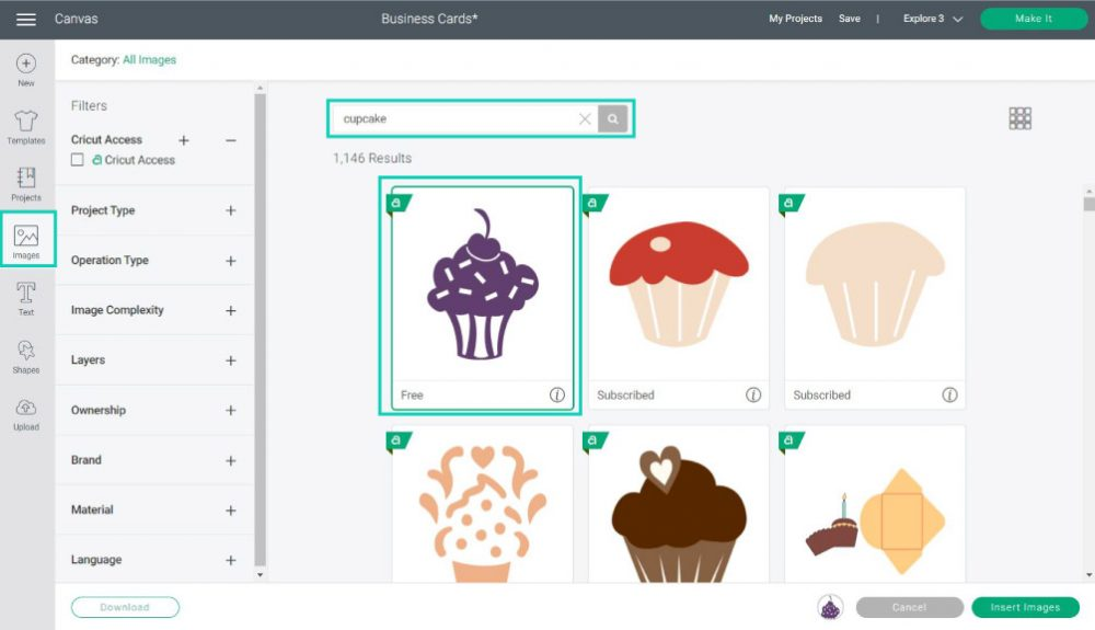 adding images to business card in cricut design space