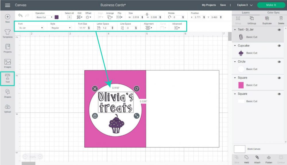 adding text to business card in cricut design space