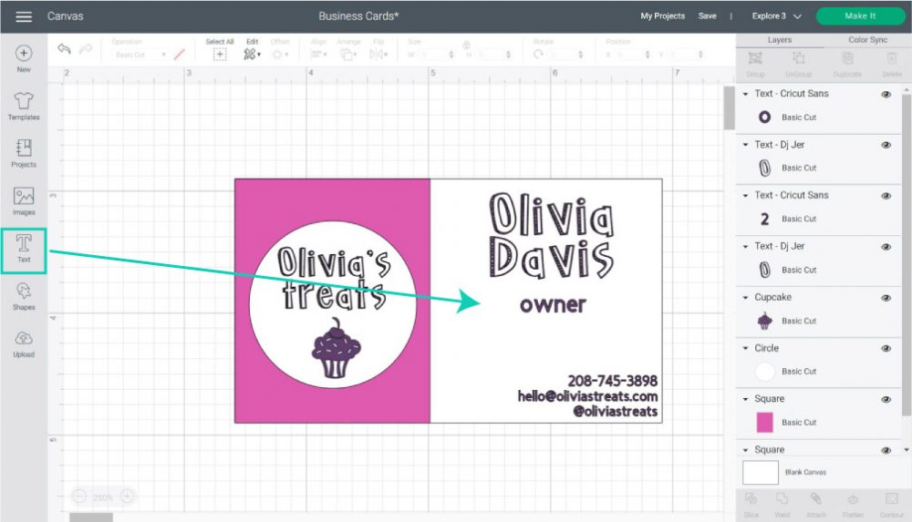 adding contact information to business card in cricut design space