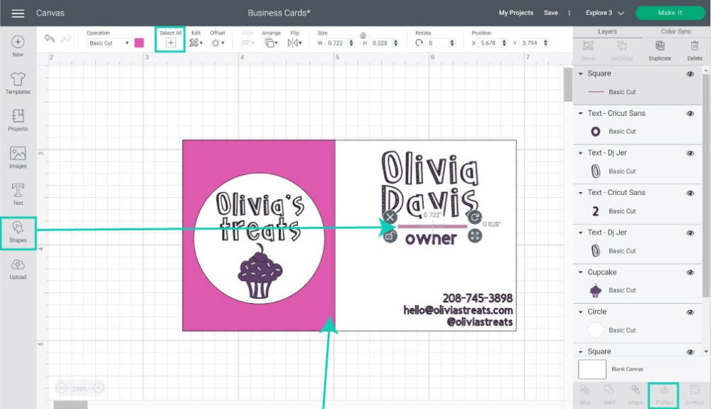 business card touch up in cricut design space
