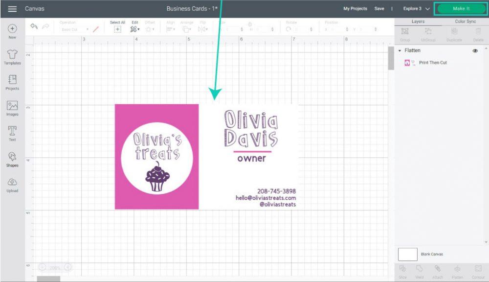 flatten business card in cricut design space