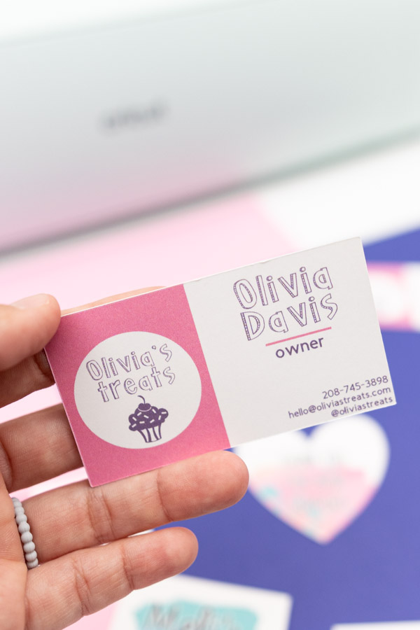 business card made with cricut machine
